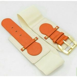 Accessories - Ivory & Orange Waist Belt